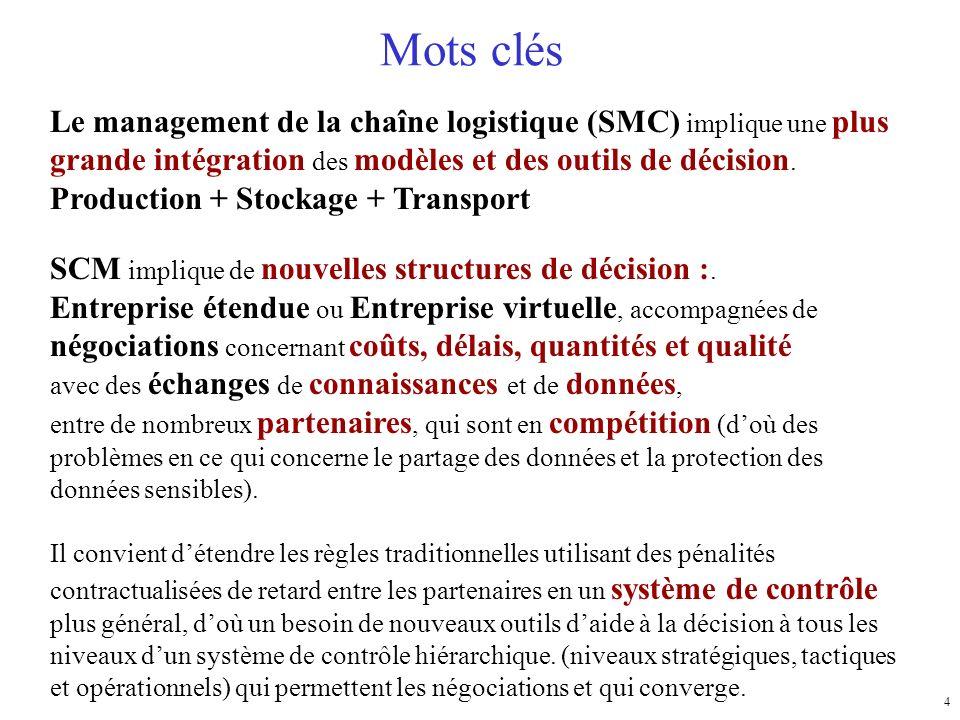 Mots clés Le management de la chaîne logistique (SMC) implique une plus grande intégration des modèles et des outils de décision.