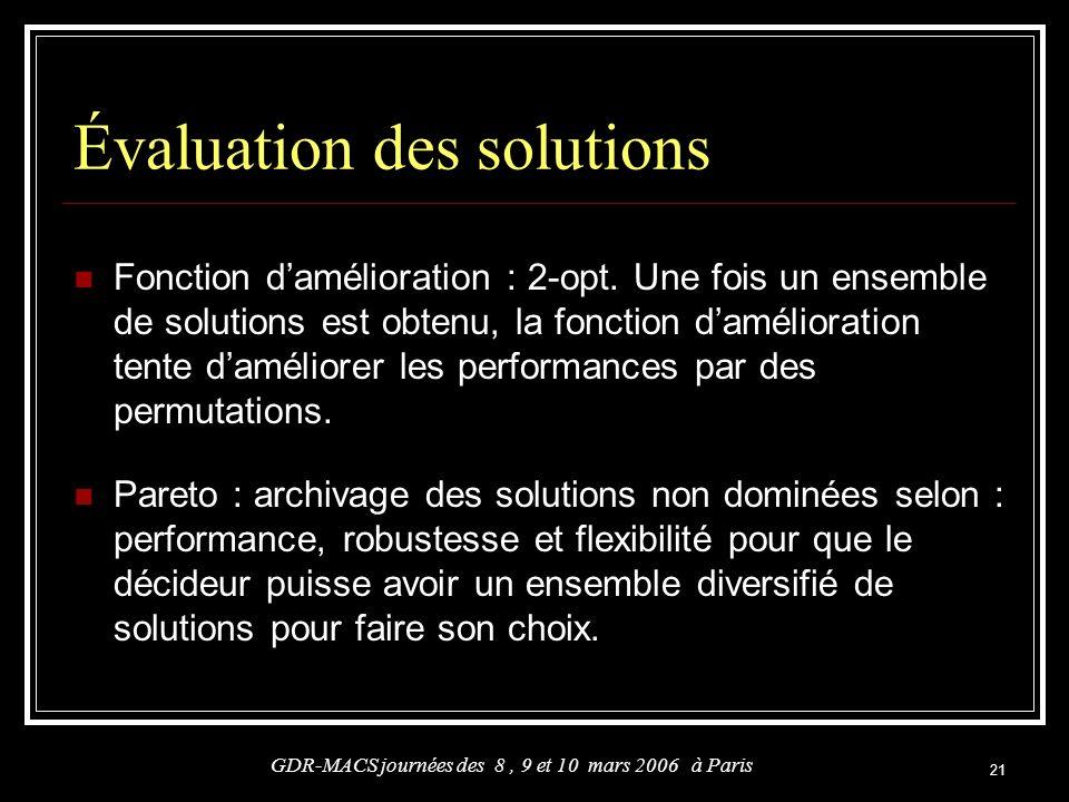 Évaluation des solutions