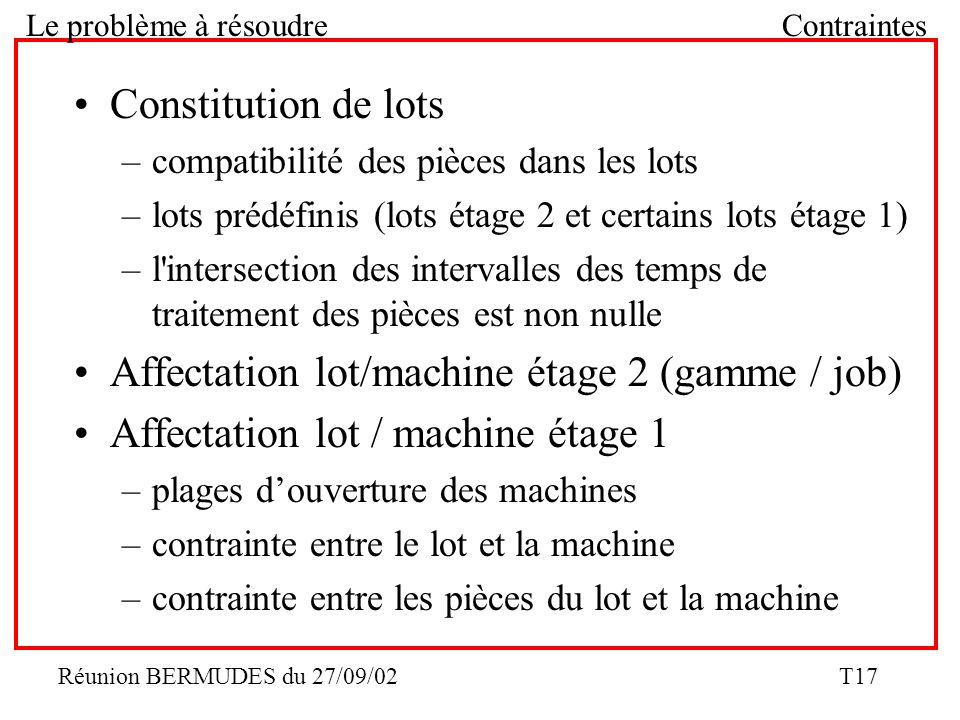 Affectation lot/machine étage 2 (gamme / job)