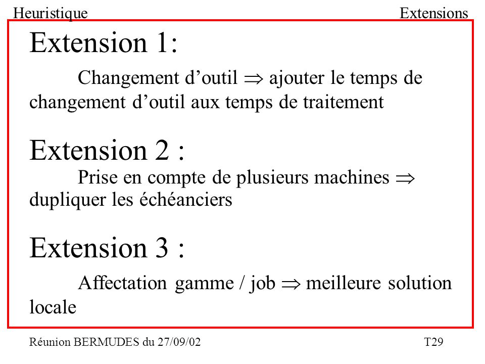 Heuristique Extensions