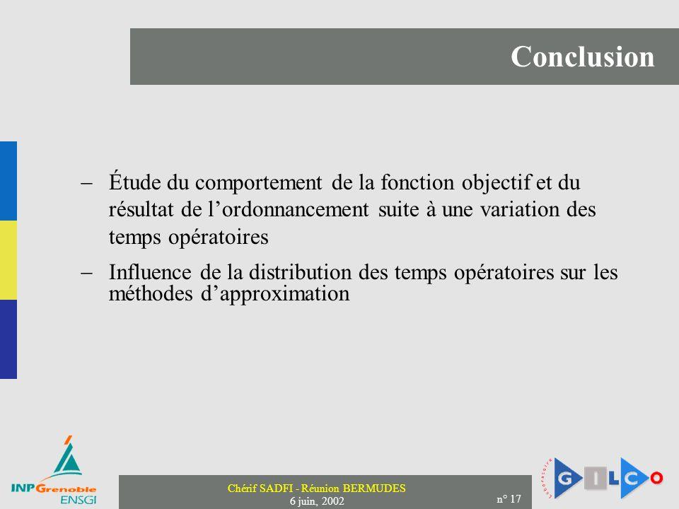 Conclusion Étude du comportement de la fonction objectif et du résultat de l'ordonnancement suite à une variation des temps opératoires.