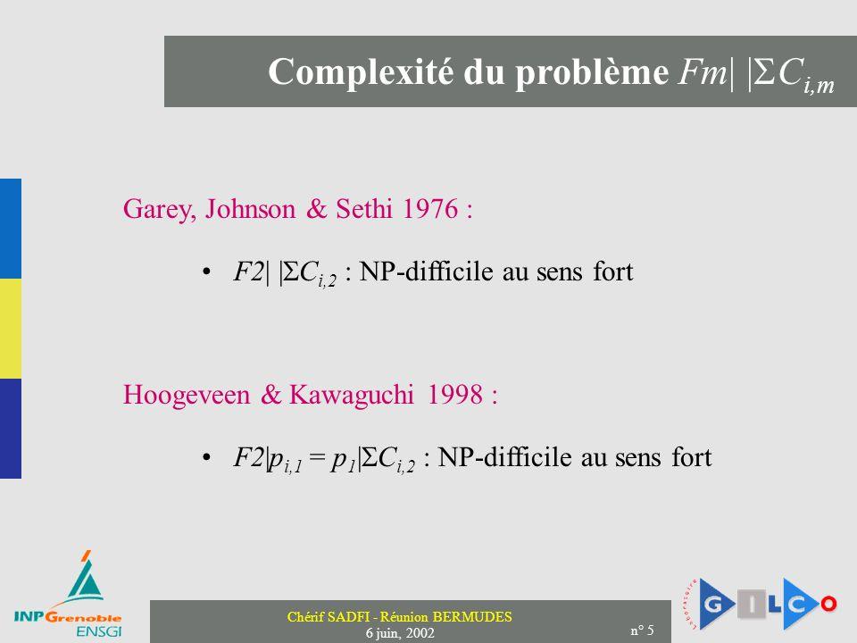 Complexité du problème Fm| |Ci,m
