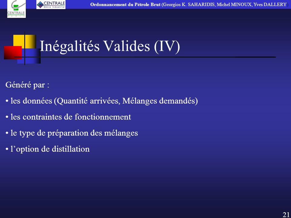 Inégalités Valides (IV)