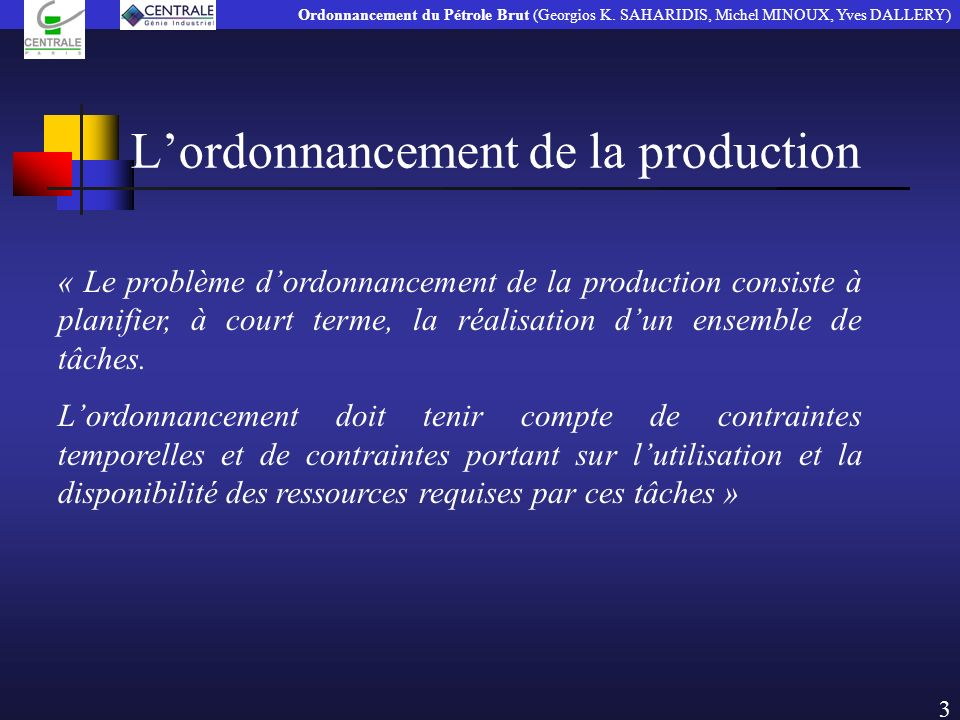 L'ordonnancement de la production