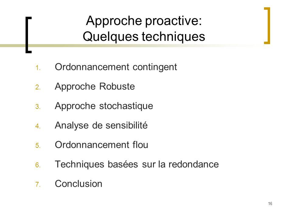 Approche proactive: Quelques techniques