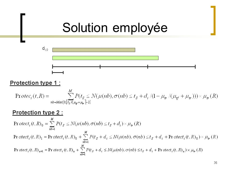 Solution employée di,0 Protection type 1 : Protection type 2 :