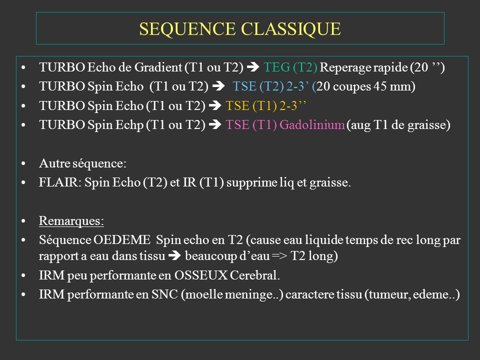 SEQUENCE CLASSIQUE TURBO Echo de Gradient (T1 ou T2)  TEG (T2) Reperage rapide (20 '')