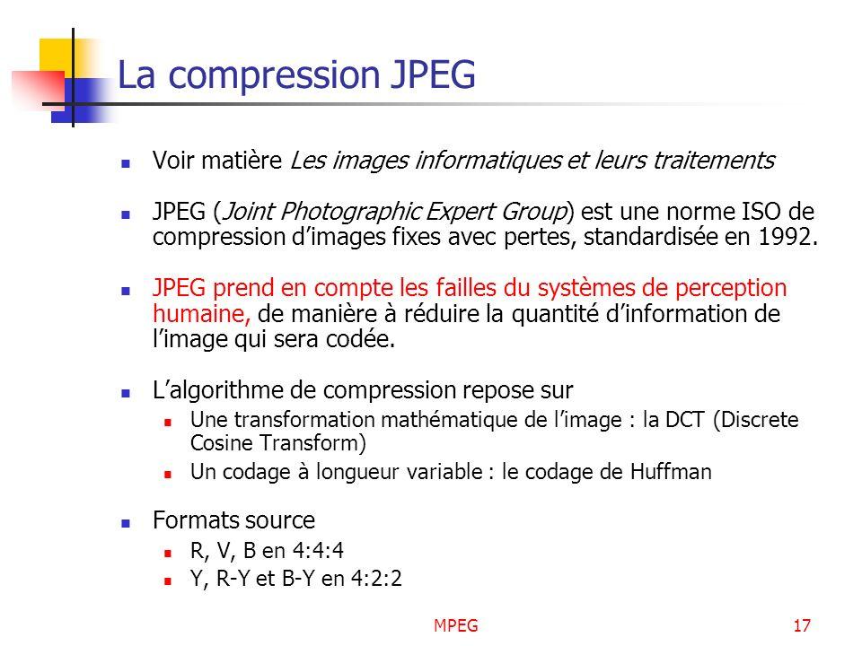 La compression JPEG Voir matière Les images informatiques et leurs traitements.