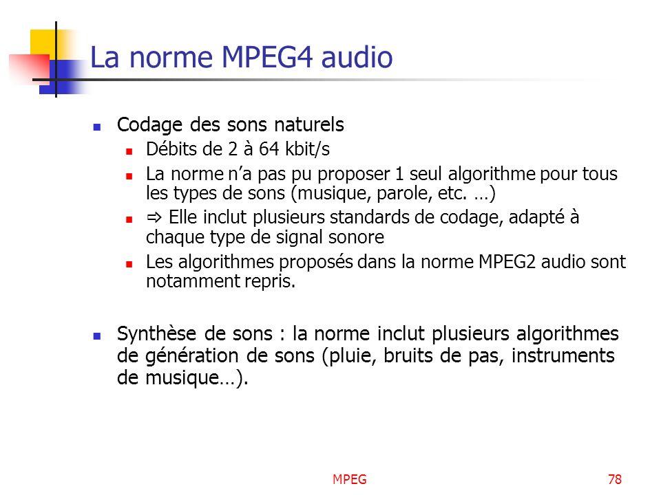 La norme MPEG4 audio Codage des sons naturels