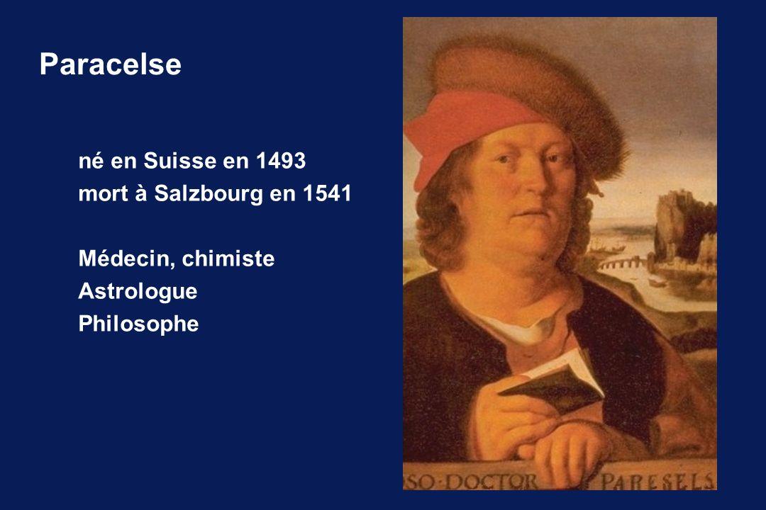 Paracelse né en Suisse en 1493 mort à Salzbourg en 1541