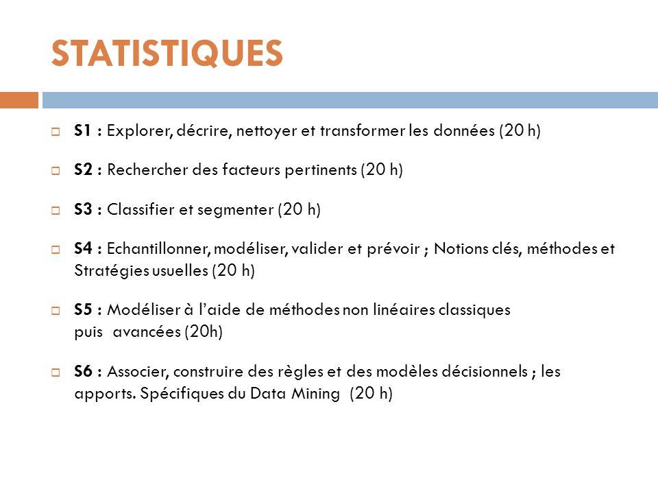 STATISTIQUES S1 : Explorer, décrire, nettoyer et transformer les données (20 h) S2 : Rechercher des facteurs pertinents (20 h)