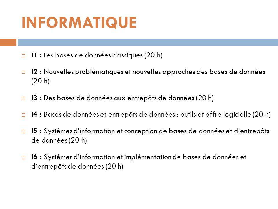 INFORMATIQUE I1 : Les bases de données classiques (20 h)
