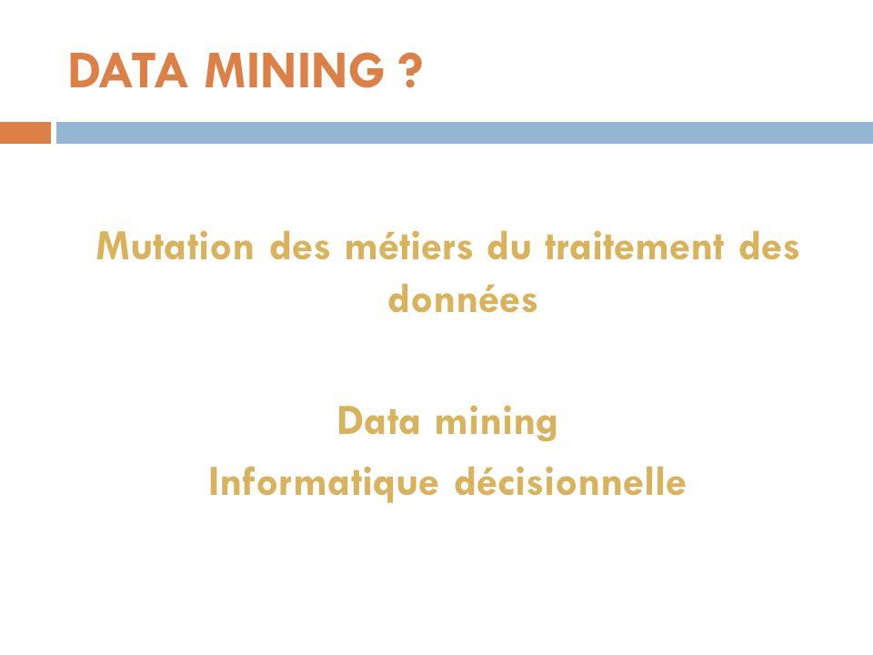 DATA MINING Mutation des métiers du traitement des données Data mining Informatique décisionnelle