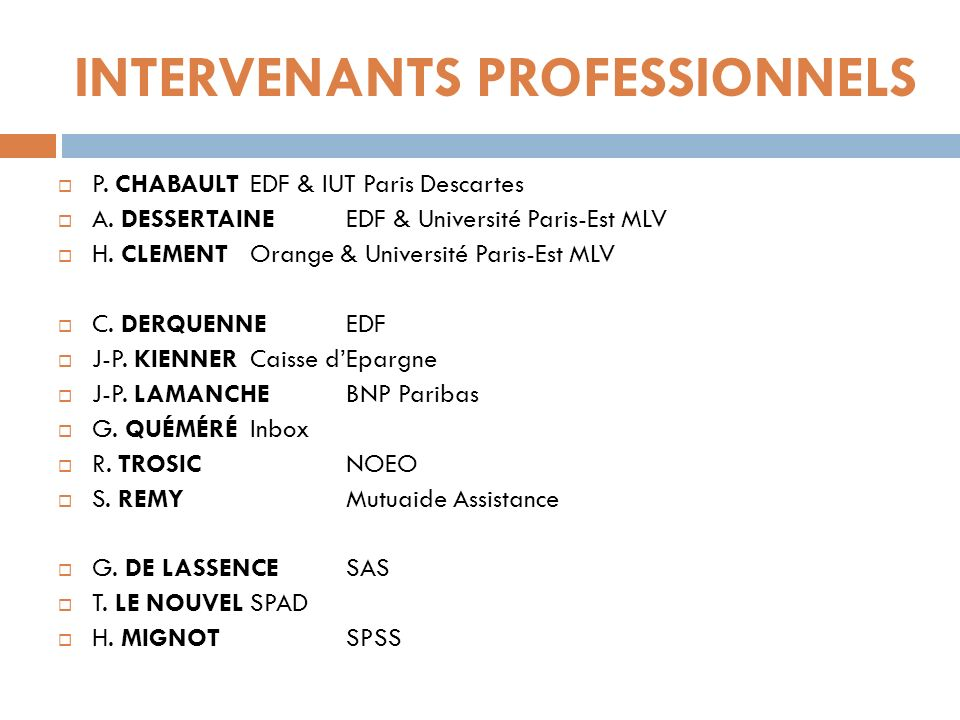 INTERVENANTS PROFESSIONNELS