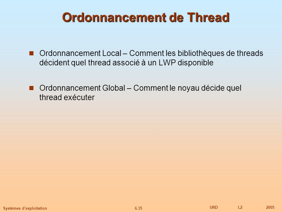 Ordonnancement de Thread