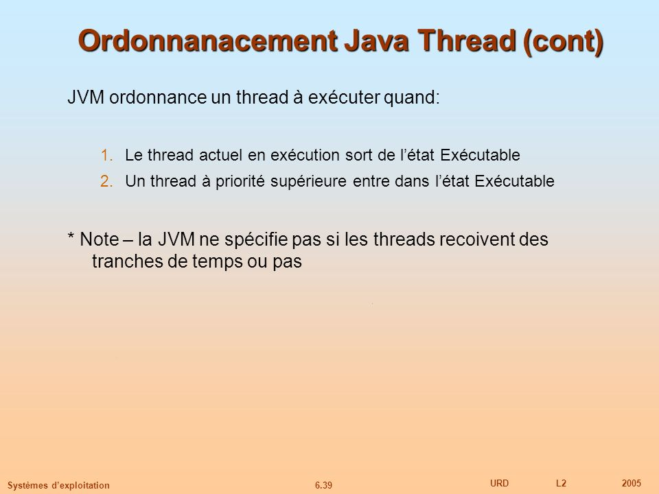 Ordonnanacement Java Thread (cont)