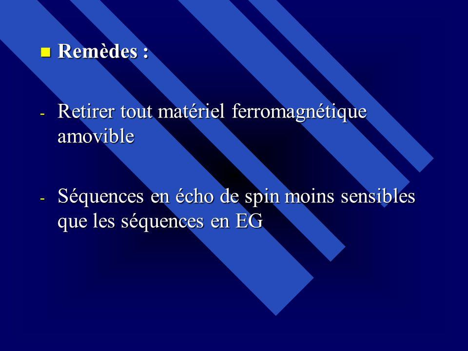 Remèdes : Retirer tout matériel ferromagnétique amovible.