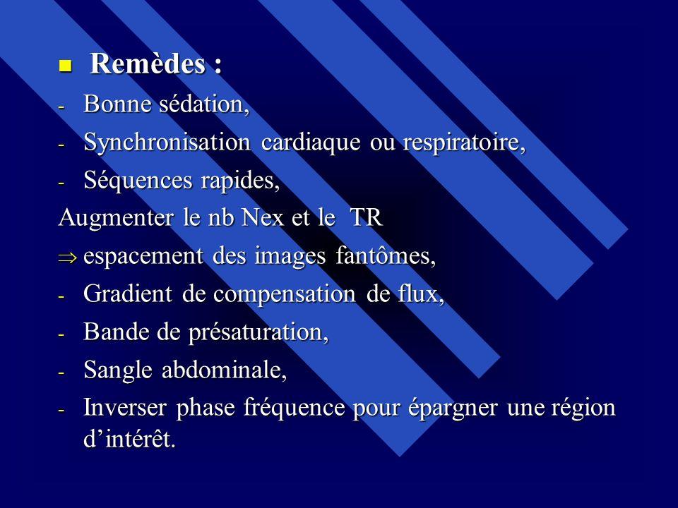 Remèdes : Bonne sédation, Synchronisation cardiaque ou respiratoire, Séquences rapides, Augmenter le nb Nex et le TR.