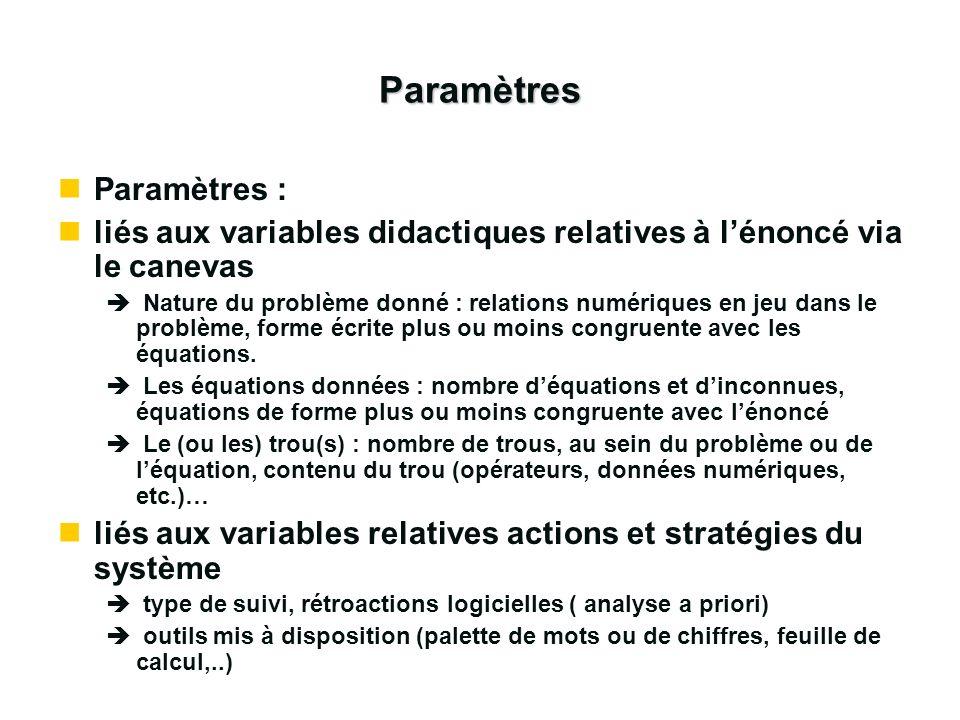 Paramètres Paramètres :