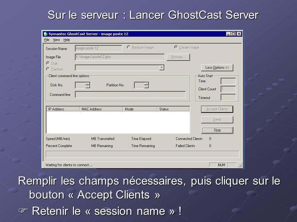 Sur le serveur : Lancer GhostCast Server