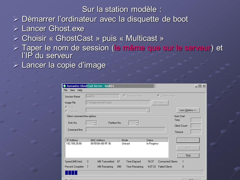 Sur la station modèle : Démarrer l'ordinateur avec la disquette de boot. Lancer Ghost.exe. Choisir « GhostCast » puis « Multicast »