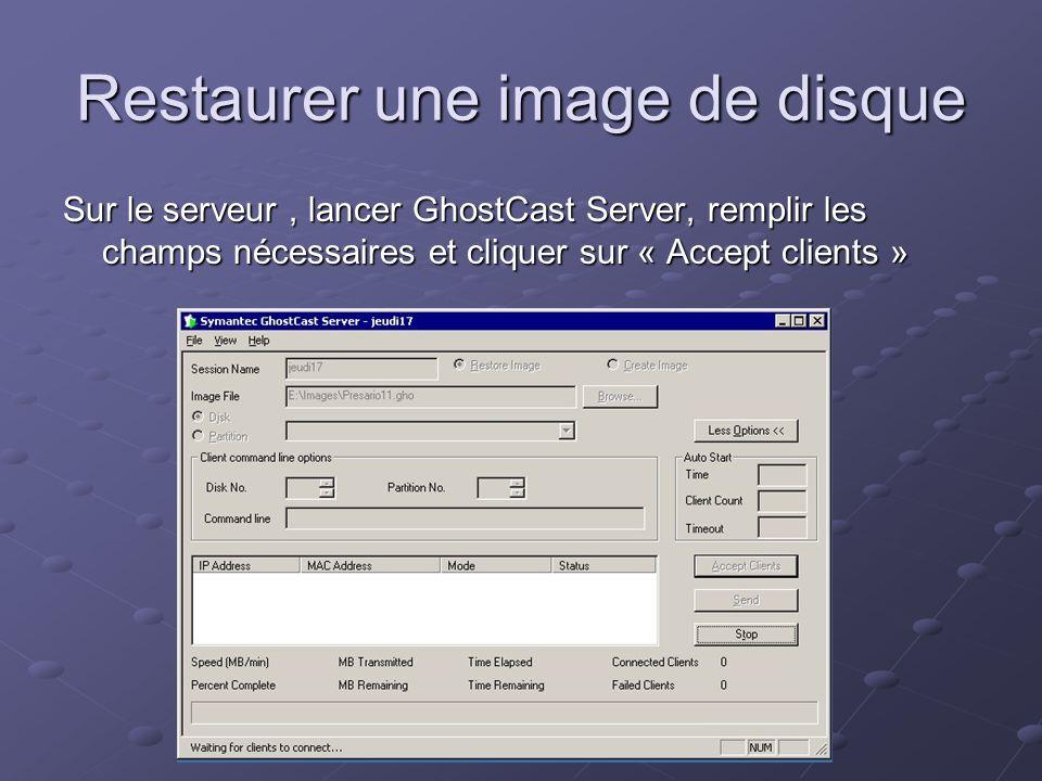Restaurer une image de disque