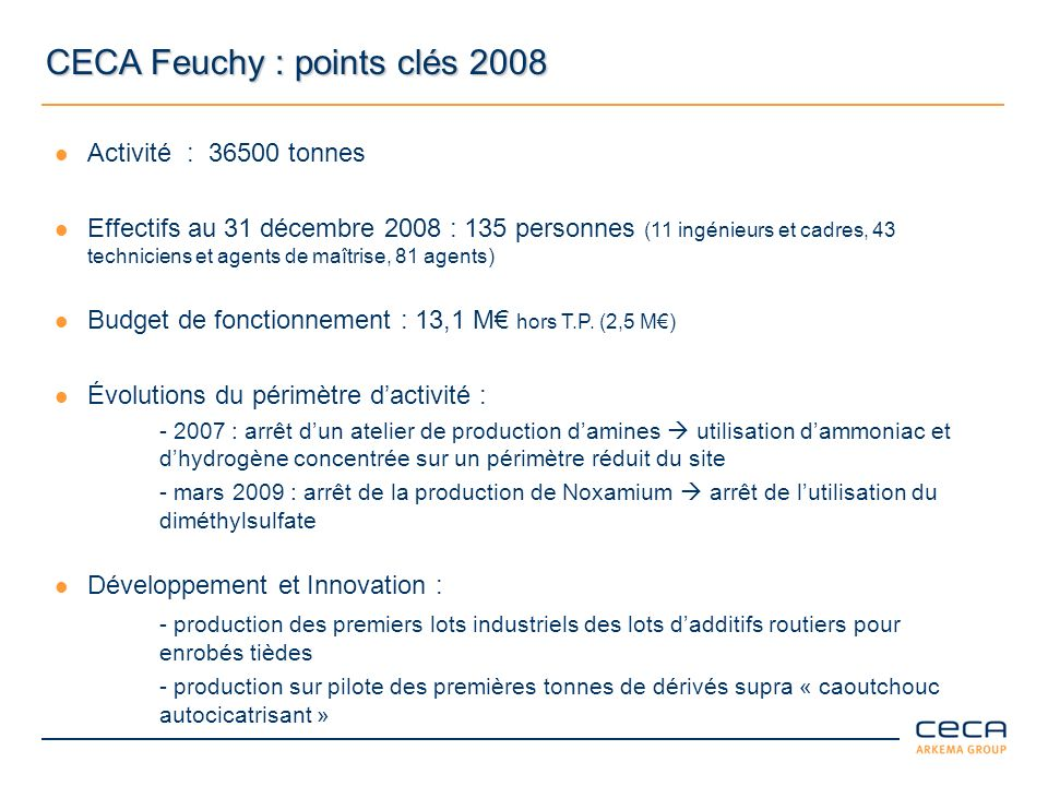 CECA Feuchy : points clés 2008