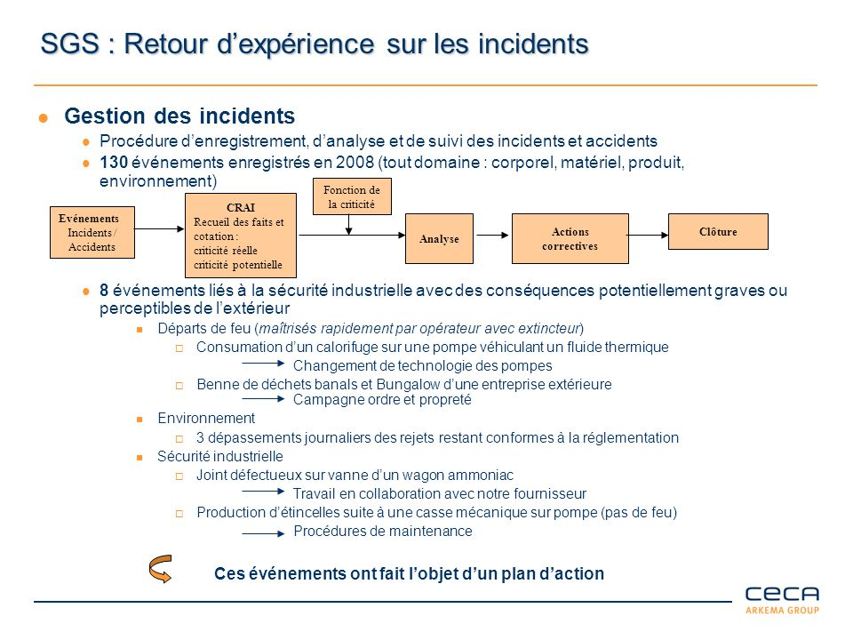 SGS : Retour d'expérience sur les incidents