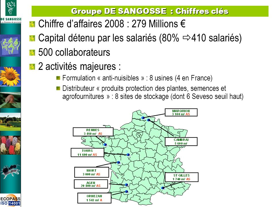Groupe DE SANGOSSE : Chiffres clés