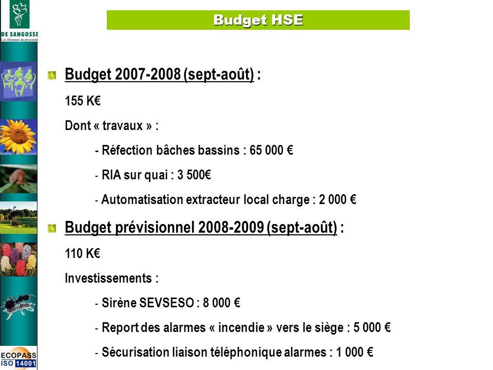 Budget prévisionnel 2008-2009 (sept-août) :