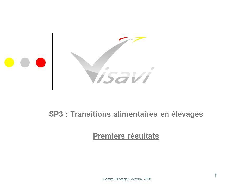 SP3 : Transitions alimentaires en élevages Premiers résultats