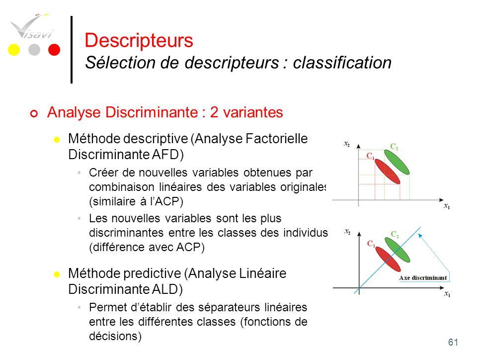 Descripteurs Sélection de descripteurs : classification