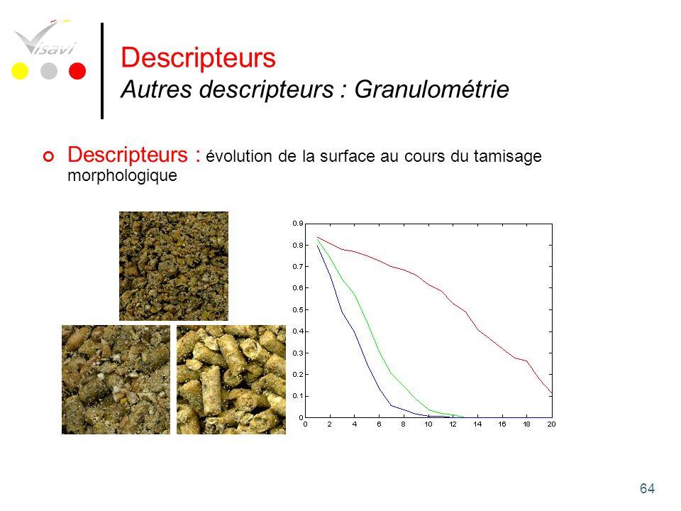 Descripteurs Autres descripteurs : Granulométrie