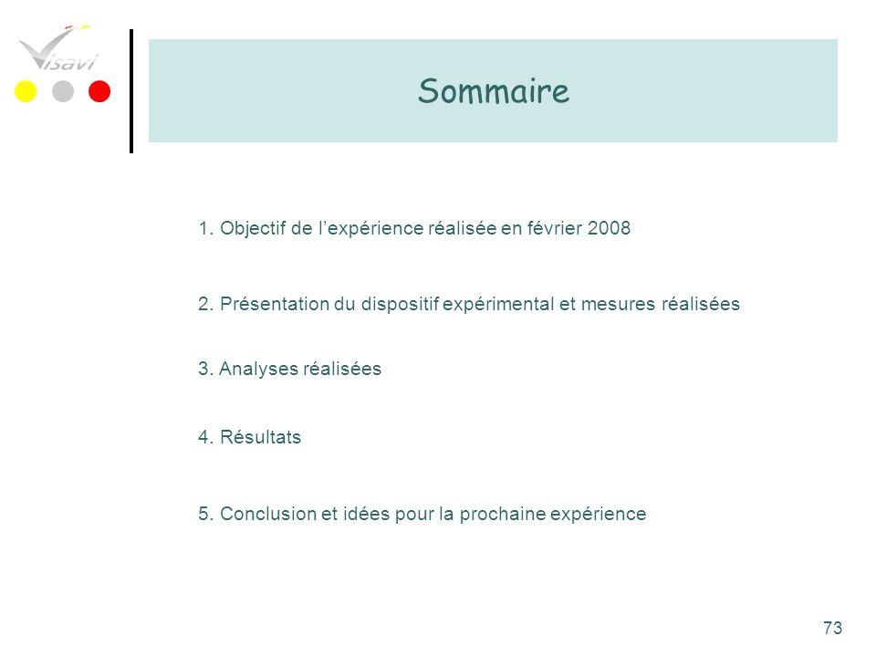 Sommaire 1. Objectif de l'expérience réalisée en février 2008