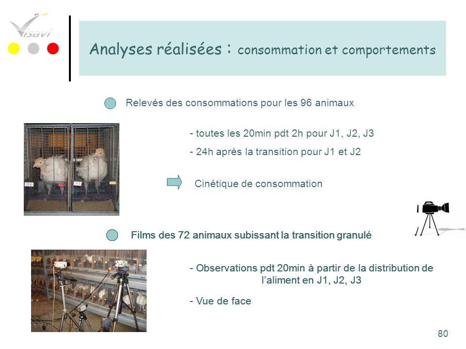 Analyses réalisées : consommation et comportements