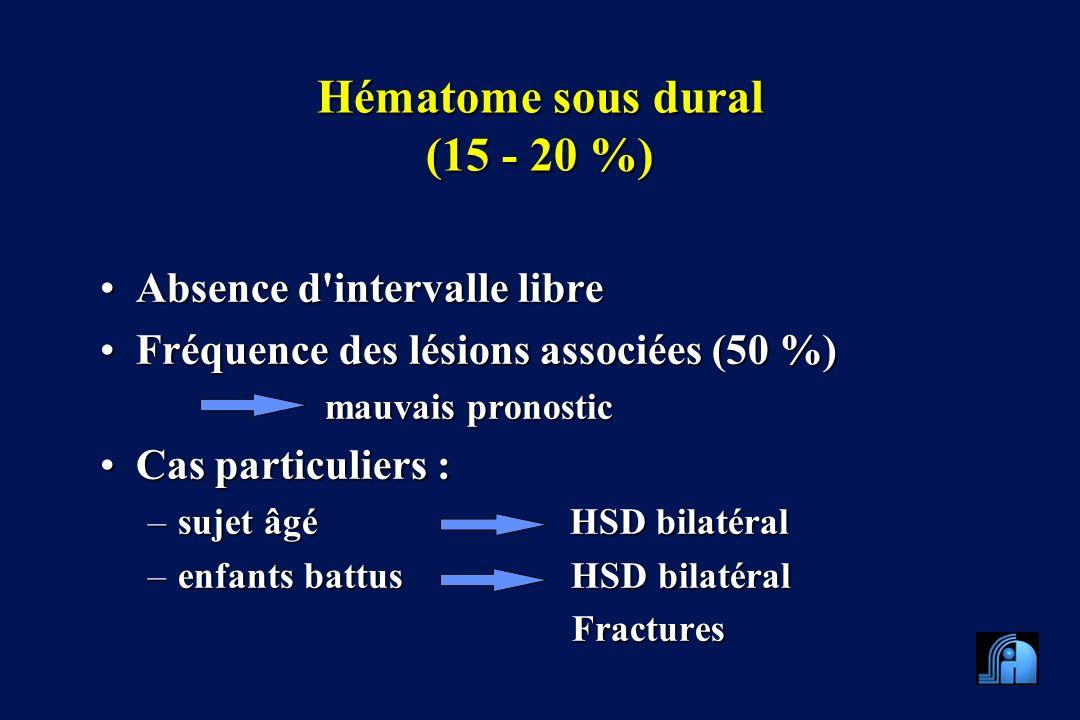 Hématome sous dural (15 - 20 %)
