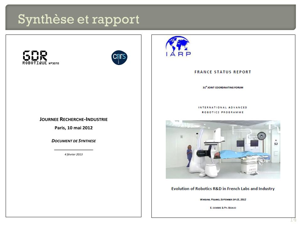 Synthèse et rapport 14