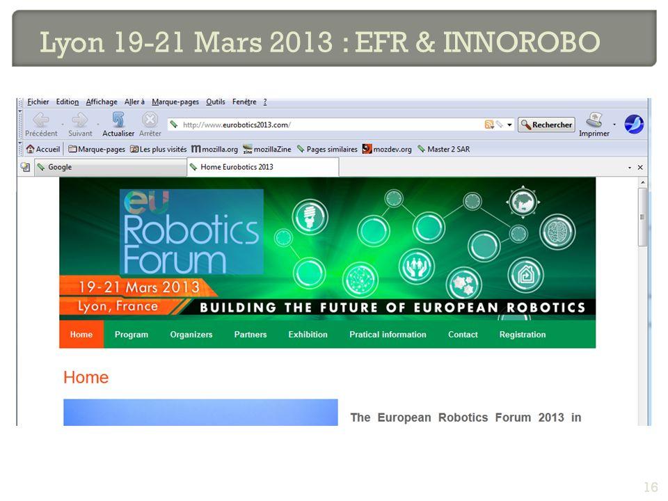 Lyon 19-21 Mars 2013 : EFR & INNOROBO