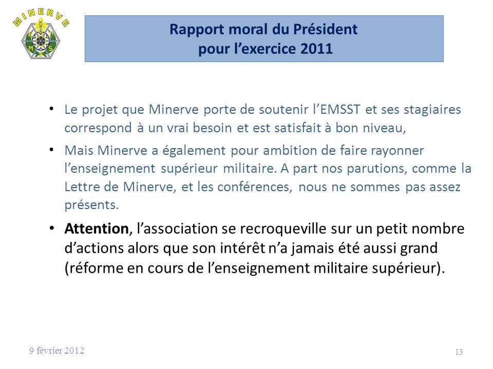 Rapport moral du Président pour l'exercice 2011