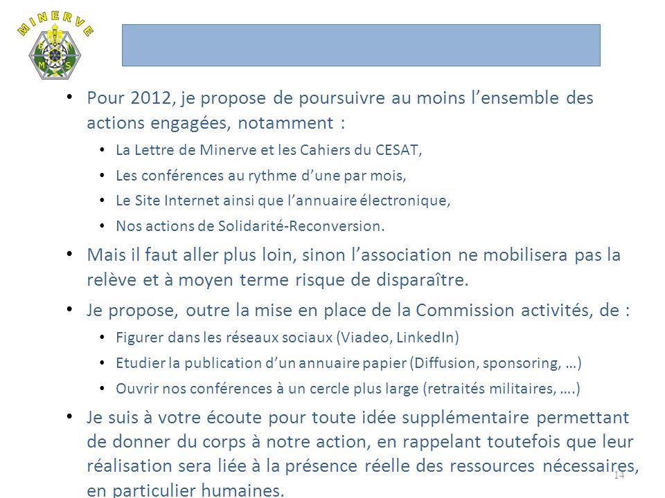 Je propose, outre la mise en place de la Commission activités, de :