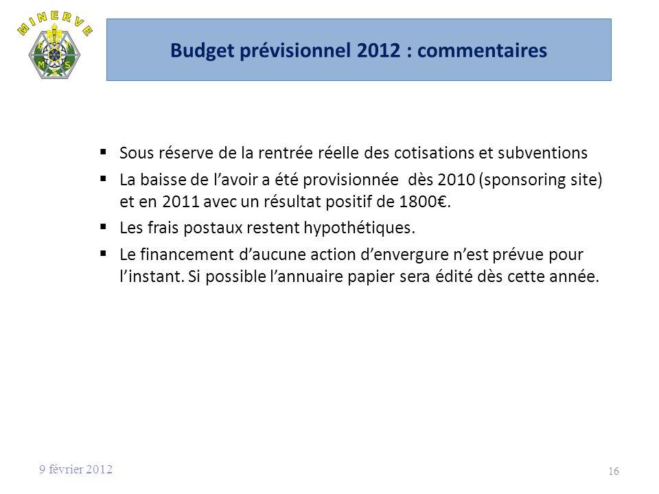 Budget prévisionnel 2012 : commentaires