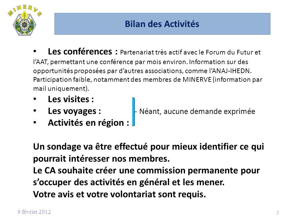 Les voyages : Néant, aucune demande exprimée Activités en région :