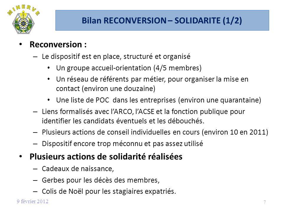 Bilan RECONVERSION – SOLIDARITE (1/2)