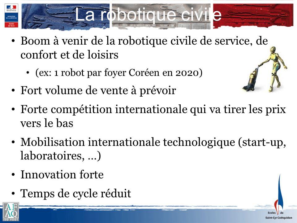 La robotique civile Boom à venir de la robotique civile de service, de confort et de loisirs. (ex: 1 robot par foyer Coréen en 2020)