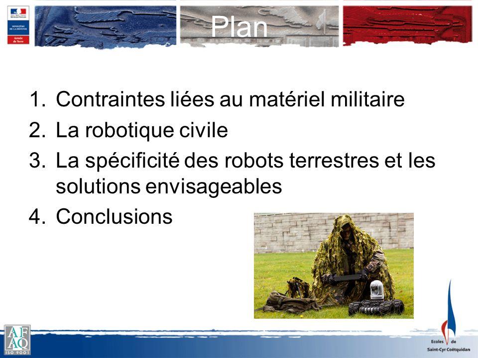 Plan Contraintes liées au matériel militaire La robotique civile