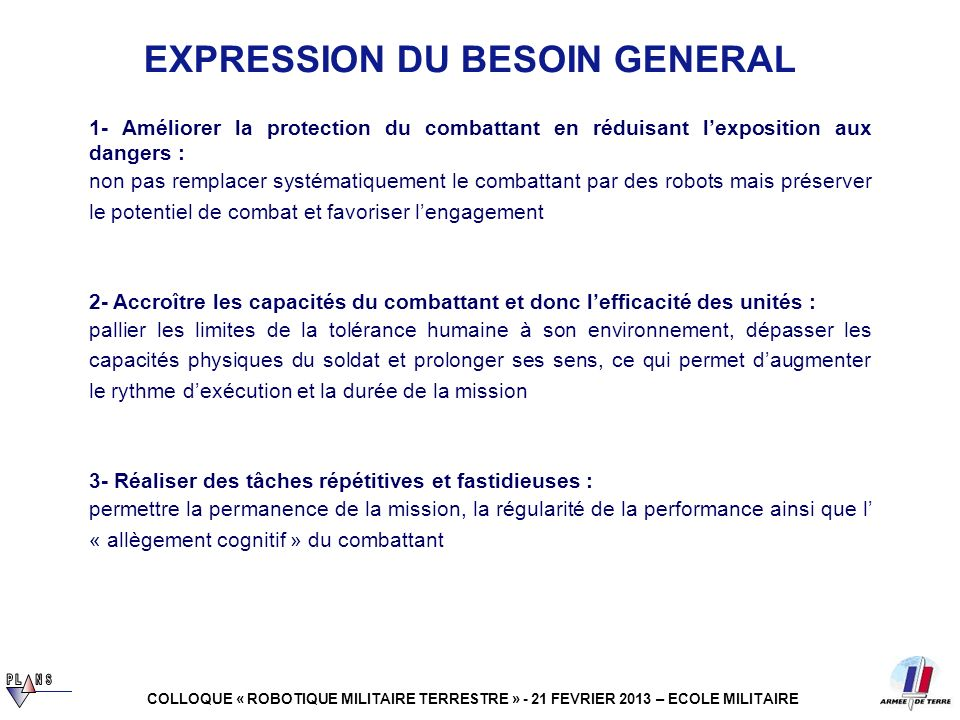 EXPRESSION DU BESOIN GENERAL