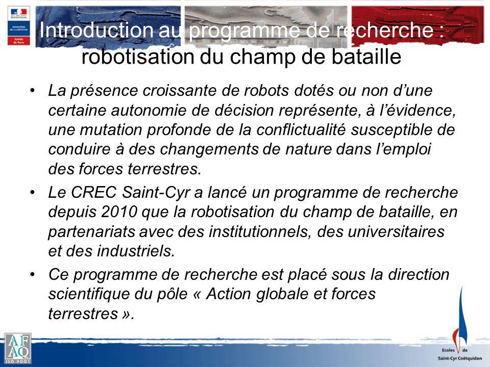 Introduction au programme de recherche : robotisation du champ de bataille