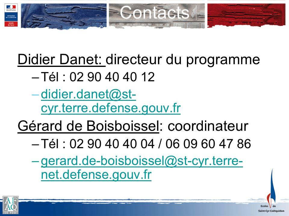 Contacts Didier Danet: directeur du programme