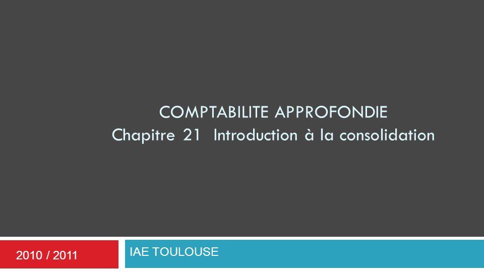 COMPTABILITE APPROFONDIE Chapitre 21 Introduction à la consolidation