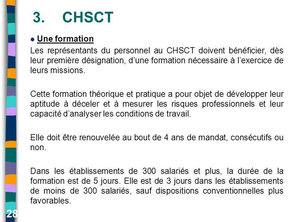3. CHSCT Une formation.